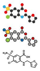 Furosemide diuretic drug molecule.