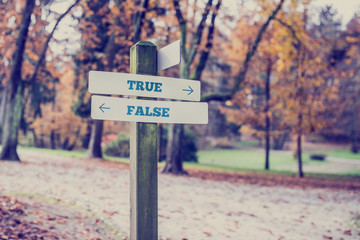 Opposite directions towards True and False