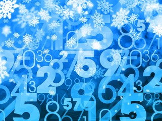 winter xmas sale random numbers blue background