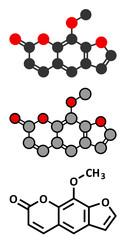 methoxsalen (psoralen) skin disease drug molecule.