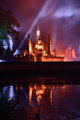 Light and sound showing, Sukhothai, Thailand.