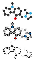 Ondansetron nausea and vomiting treatment drug molecule.