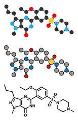 Sildenafil erectile dysfunction drug molecule.