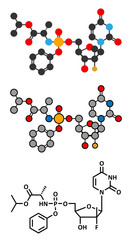 Sofosbuvir hepatitis C virus drug molecule.