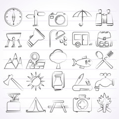 Camping and tourism icons - vector icon set