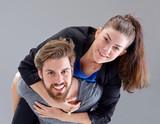 Young couple piggyback