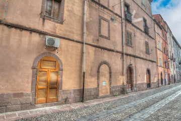 old street in Bosa downtown