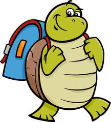 turtle with satchel cartoon illustration