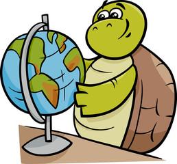 turtle with globe cartoon illustration