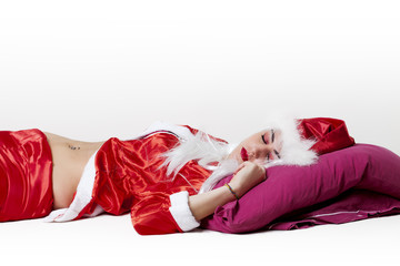 Tired Santa Claus sleeping 3