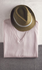 Overhead view of womens pink knit and hat