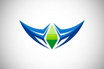 3D abstract technology game logo vector