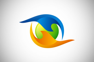 3D vision eye abstract water fire logo vector