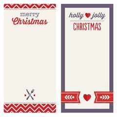 hipster christmas menu or invitation templates red purple set