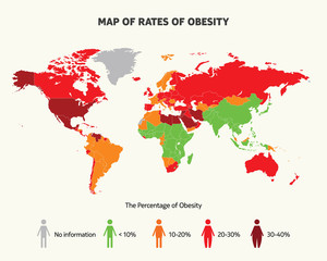 Map of rates of obesity