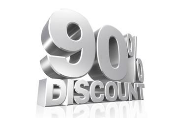 3D render silver text 90 percent discount.