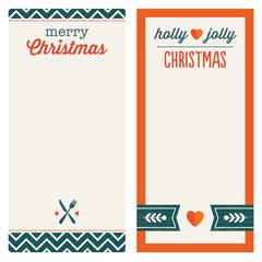 hipster christmas menu or invitation templates orange green set