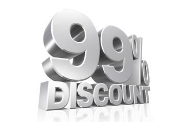 3D render silver text 99 percent discount.