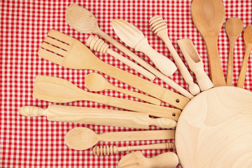 Wooden kitchen equipments and utensils