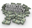 Financial Independence 3d Words Money Stacks Income Earnings