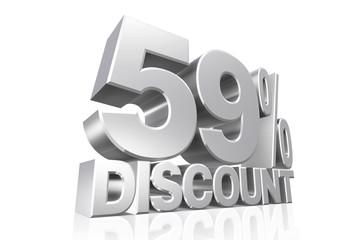 3D render silver text 59 percent discount.