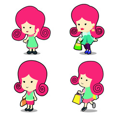 Happy cute girl in many poses cartoon vector illustration