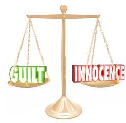 Guilt Vs Innocence 3d Words Gold Scale  Judgment Decision Verdic