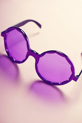 Funky hippy costume purple sunglasses vertical