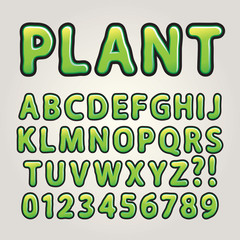 Abstract Green Nature Alphabet and Numbers, Editable eps10 Vecto
