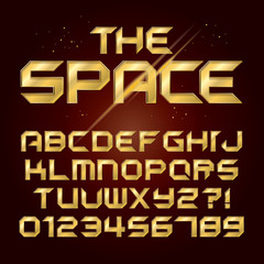 Futuristic Golden Shine Alphabet and Numbers, Editable eps10 Vec