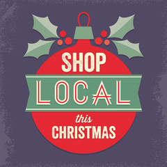 vintage sign shop local this christmas red green purple