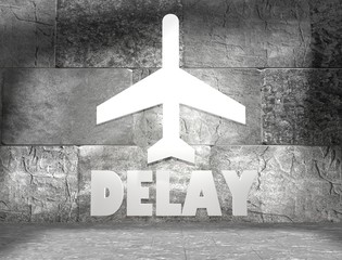 plane icon and delay text