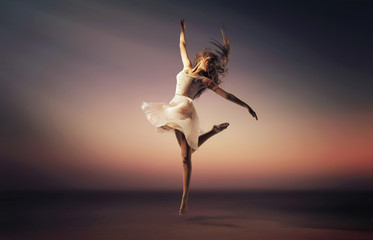 Romantic mood portrait of the jumping dancer