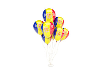 Flying balloons with flag of andorra