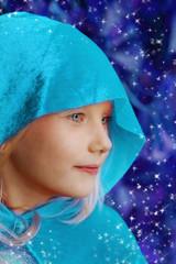 Girl in blue hood