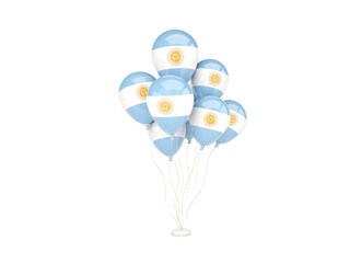 Flying balloons with flag of argentina