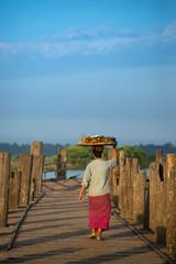 Mandalay landmarks, walking on U Bein Bridge , Myanmar