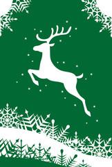 トナカイと雪の結晶クリスマスイラスト