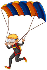 A man enjoying the parachute