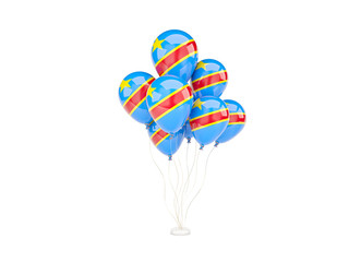 Flying balloons with flag of democratic republic of the congo