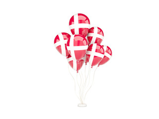 Flying balloons with flag of denmark