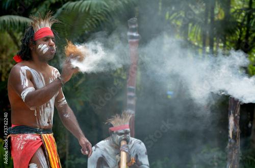 Leinwanddruck Bild Aboriginal culture show in Queensland Australia