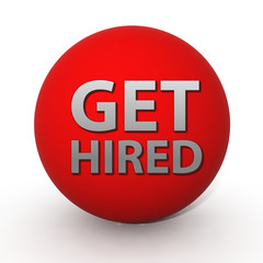 Get hired circular icon on white background