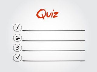 Blank Quiz list, vector concept background
