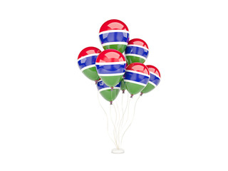 Flying balloons with flag of gambia