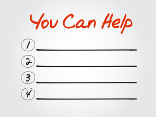 Blank You Can Help list, vector concept background