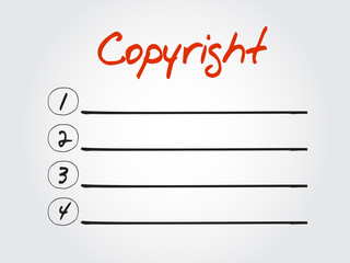 Blank Copyright list, vector concept background