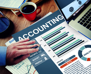 Accounting Businessman Working Calculating Thinking Planning Pap