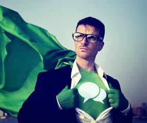 Speech bubbles Superhero Success Empowerment Concept