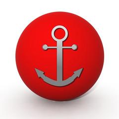 Anchor circular icon on white background